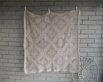 vintage tablecloth beige crocheted cloth petite tablecloth patterned cloth shabby decor cottage chic french country decor