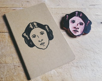 Princess Leia Carrie Fisher Resistance Moleskine Notebook Hand Carved Linocut Blockprint Portrait