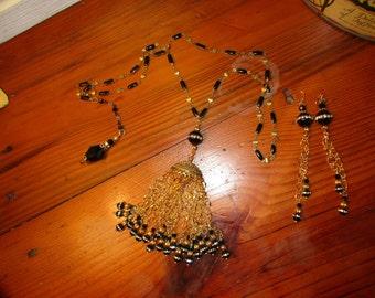 Ornate ONYX & Rhinestone Pendant, Filigree Bead Cap, Onyx and Crystal TASSEL, Charm/Matching Earrings on Black ENAMEL Rosary Chain Necklace
