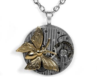 Steampunk Jewelry Necklace PINSTRIPED Pocket Watch Gold Large BUTTERFLY Accent Anniversary, Birthday for Women- Jewelry by SteampunkBoutique