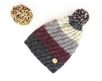 Slouchy Beanie Slouch Hat BURGUNDY & GRAY Striped Wool / Alpaca Hipster Fashion Hat Handknit Unisex Winter Accessory Handmade by WormeWoole