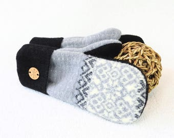 Fair Isle Sweater Mittens GRAY & BLACK Felted Wool Gloves Nordic Eco-Friendly Fleece Lined Mitts Unisex Gift for Him or Her by WormeWoole