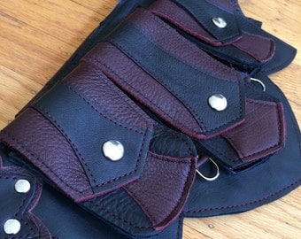 Ready to Ship XS REGAL Recycled Leather Regal Pocket Belt Burning Man Apocalyptic Utility Festival Mad Max black wine red
