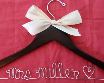Personalized Wedding Dress Hanger/ Wire Hanger Brides Hanger/ Bride Wire Hanger / Name Hanger/ Wedding Hanger / 47 ribbon colors