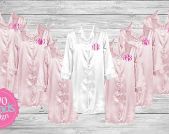 Bridesmaid Pajamas, Satin Button Up Down, Nightgown, Sleep shirt,  Bridesmaid Pajama Set Monogrammed Pajamas, Silk Pajamas, night shirt