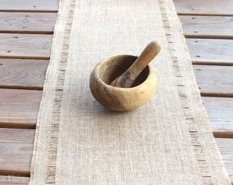 Outdoor Rustic Burlap Table Runner - Pulled-Thread Natural Burlap Table Runner - Home Decor - Wedding - Green Living - Reversible