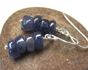 Iolite earrings - sterling silver earrings - blue gemstone earrings - iolite bead stack earrings -gemstone stack earrings - blue earrings
