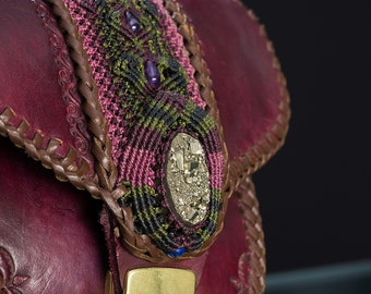 Leather Purse with Pyrite Stone and Macrame Inclusion