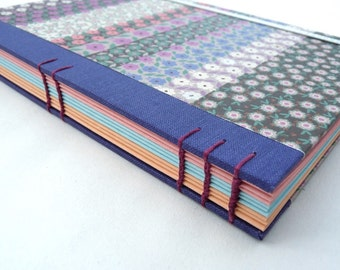 Journal, notebook, A5, purple, floral, cloth, Coptic, rounded, recycled, elastic, coloured pages