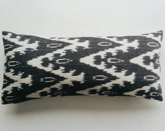 Black and White Ikat Pillow Cover - Boho Lumbar Pillow - Black Tribal Pillow