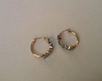 14k Gold Hoop Earrings Blue Topaz Gemstones 4 Carat Vintage Fine Jewelry Beautiful Gift