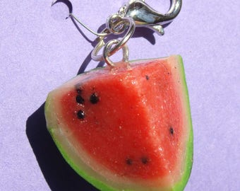 Summer watermelon wedge - polymer clay charm