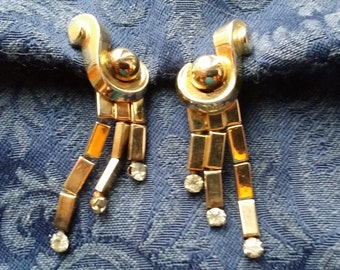 TRES CHIC Dangle Screwback ERs w/ Rhinestones by Coro VINTAGE