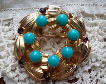 BEAUTIFUL Goldtone Pin w/ Faux Turquoise by WARNER VINTAGE