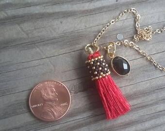 Mini Beaded Tassel w/ Onyx Pendant Necklace