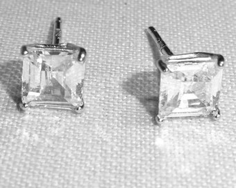 Vintage CZ earrings, pierced, wedding earrings