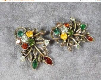 ON SALE Vintage CORO Designer Earrings, Fall Colors,Floral Earrings Signed Coro