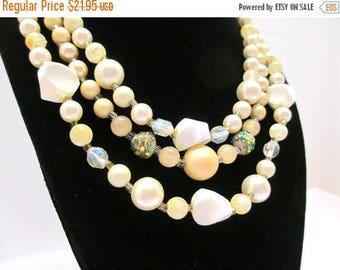 ON SALE Vintage Three Strand Faux Pearl, Aroura Borealis Crystal, Marbled Bead Necklace