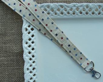 Fabric Lanyard - Tiny Rustic Stars