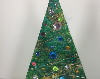 Green and Gold Foil Swirl Christmas Tree Votive