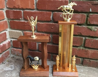 Blank front vintage horse trophy pair