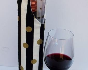 Black & White Striped Wine Bag Gift Tote Bag Handmade in USA