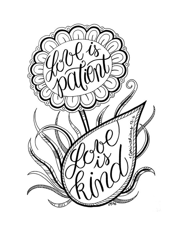 Love Is Patient Kind Coloring Page