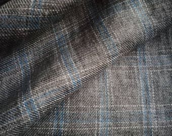 Pure  linen fabric with Light blue checks on Gray Brown melange background-natural fabric 4Yards