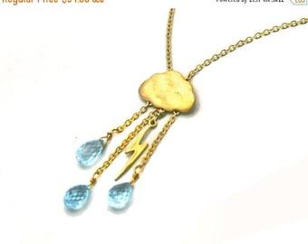20% off. Lightning Storm Necklace. English Rain Cloud necklace. Lightning bolt Gemstone Jewelry.