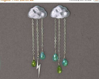 20% off. Lightning Storm Earrings. English Rain Cloud Earrings. Storm Gemstone Jewelry.