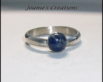 Blue Lapis Ring in Sterling Silver Band