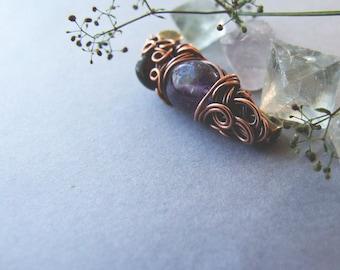 Amethyst Brooch, Rustic Copper Gemstone Brooch, Amethyst Jewelry, Woodland Bohemian Amethyst Brooch