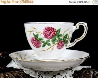 Royal Tuscan, Four Leaf Clover, Tea Cup and Saucer, Vintage Floral Teacups, English Bone China 13231