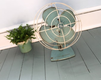 Stay Cool....Vintage Teal, General Electric Oscillating Fan, Mid Century, Industrial