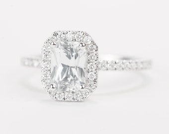 Sale - CERTIFIED - GIA Certified Radiant White Sapphire & Diamond Halo Engagement Ring 14K White Gold