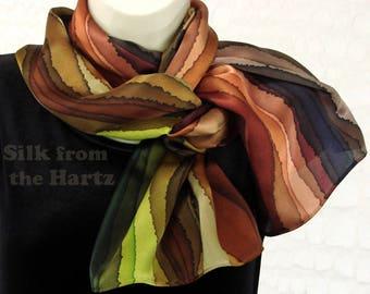 Hand Dyed Earthtone Stripe Silk Scarf