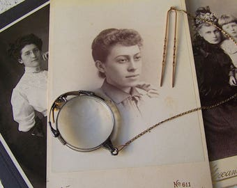 Antique Spectacles Gold Filled Pince Nez Nose Pinch Eyeglasses Hair Pin Clip On Chain Folding Magnifying Glass ca. 1905