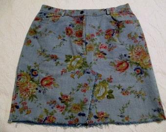 Vintage Denim Mini Skirt David Brooks Repurposed from 80s 90s Jeans Festival Clothing