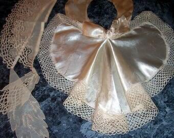 Vintage 20's Antique Ecru Colored Silk &Satin Lace Collars ...2 Pieces