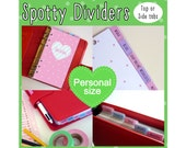 SIZE: PERSONAL Personalised Dividers (Top or Side tabs) Cute Kawaii Dots Filofax, Louis Vuitton MM Agenda, Kikki.K Medium Planner