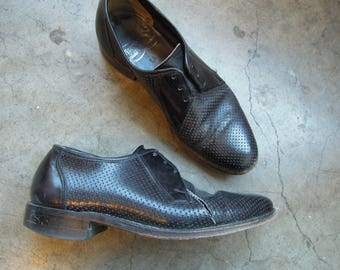 Vtg Leather Perforated Dot Low Black Lace Up Oxford Loafers Nunn Bush Womens 6.5/7 AS IS