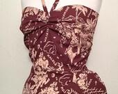 Special listing for Sophia Vintage 1950s inspired rayon Hawaiian halter neck sarong rockabilly dress Viva M
