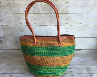 Colorful Retro Straw Bag - Leather Purse