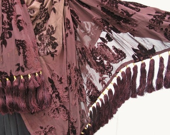 Brown Cut Velvet Shawl with 72 Gorgeous Tassels by the Old Silk Route