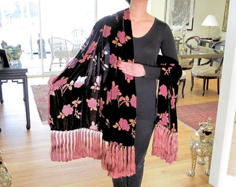 99 Silk Tassel Fringe on Pink and Dark Brown Cut Velvet Shawl by the Old Silk Route