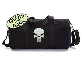 The Punisher Cotton Canvas Weekend Shoulder Duffel Bag, Punisher Duffle Bag, The Weekend Bag, Man Bag, Duffle Bag, Gym Bag