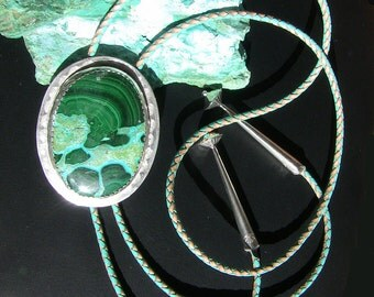 Bolo Tie: Malachite/Chrysocolla Hand-stamped SS