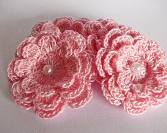 Crochet Flower Appliques - 4 Pastel Pink Layered Flowers with Bead Centers