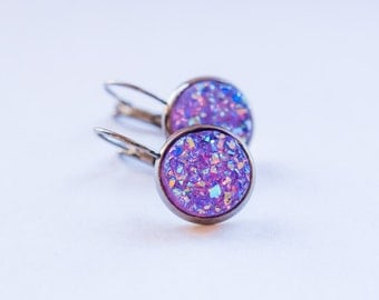 Purple Druzy Earrings, Holiday Earrings, Christmas Earrings, Gift for Her