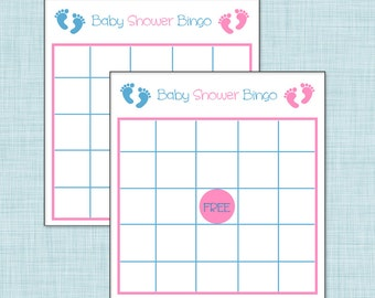 Boy/Girl Twins Baby Shower Bingo
